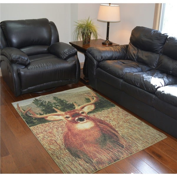 Lodge Buck Area Rug (4' x 5'8)