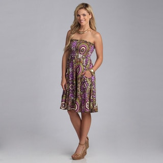 Just Funky Women's Abstract Printed Strapless Dress