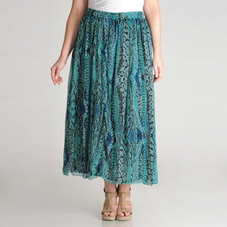 Grace Elements Women's Plus Abstract Printed Skirt