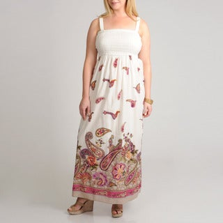 Grace Elements Women's Plus Cotton Maxi Border Print Dress