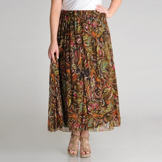Grace Elements Women's Plus Novelty Nature Print Printed Skirt