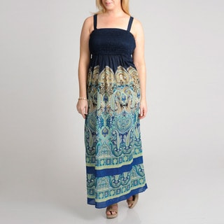 Grace Elements Women's Plus Paisley Printed Cotton Maxi Dress