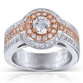 Annello 4k Gold Two-tone 1 1/10 ct TDW Diamond Engagement Ring (H-I, I1-I2)