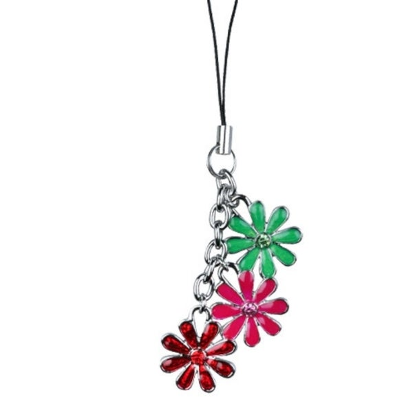 INSTEN Three-Color Flower Cell Phone Charm