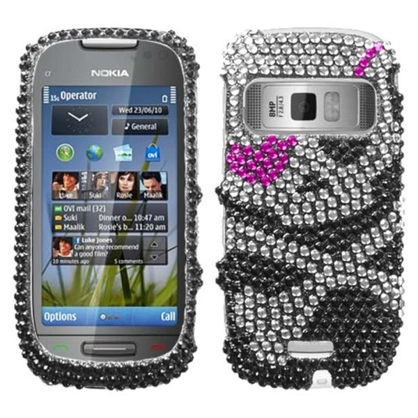 INSTEN Skull Diamante Protector Phone Case Cover for NOKIA C7 Astound