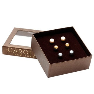 Carolee Gold/ Grey/ White Pearl Stud Earrings with Gift Box (Set of 3)
