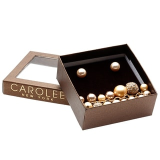 Carolee Champagne Pearl Stud Earrings and Fireball Bracelet Set with Gift Box