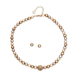Carolee 8mm Gold Pearl Strand Necklace and 8mm Gold Pearl Stud Earrings Set with Gift Box