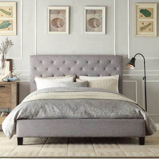 INSPIRE Q Kingsbury Grey Linen Tufted King-sized Upholstered Platform Bed