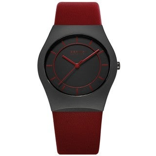 Bering Time 32035-649 Ceramic Red Calfskin Watch