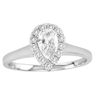 De Couer 14k White Gold 3/4ct TDW Diamond Engagement Ring (H-I, I2) with Bonus Necklace