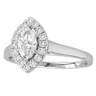 De Couer 14k White Gold 3/4ct TDW Marquise Diamond Ring (H-I, I1)