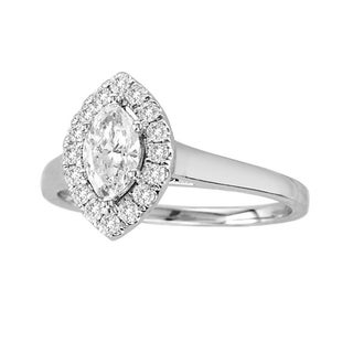 De Couer 14k White Gold 3/4ct TDW Marquise Diamond Ring (H-I, I2)