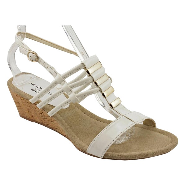 Anne Klein AK Women's 'Frink' White Wedge Sandals