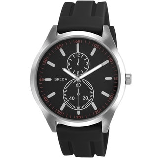 Breda Men's 'Connor' Black Silicone Band Watch