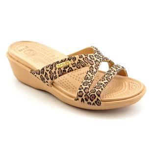 Crocs Women's 'Patricia II Leopard Print Wedge' Synthetic Sandals