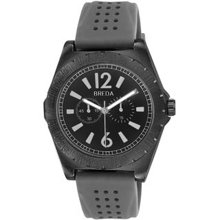 Breda Men's 'Ryder' Black Bezel/ Grey Silicone Strap Watch
