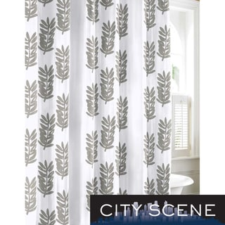 CIty Scene Paloma Leaf Cotton Shower Curtain