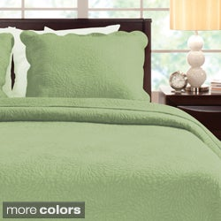Serenity 100-percent Cotton Oversized 3-piece Quilt Set