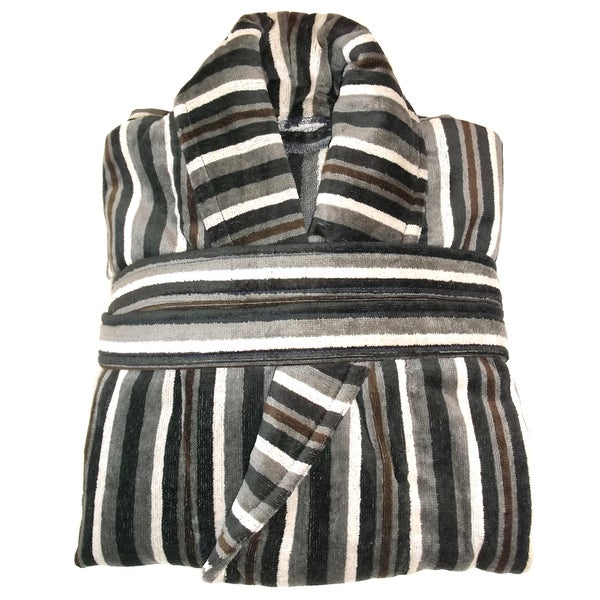 Salbakos Jacquard Multi-stripe Yarn Dyed Velour Bath Robe