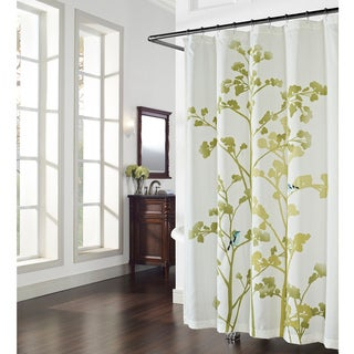 Wildwood Print and Embroidered Birds Shower Curtain