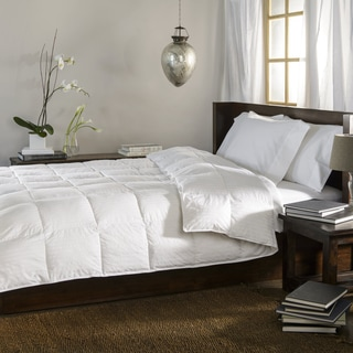 Oversized 300 Thread Count All-season White Striped Down Blend Comforter