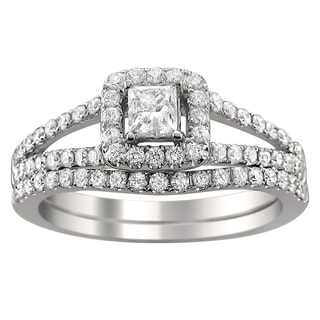 14k Gold 1ct TDW Princess-cut Diamond Halo Bridal Ring Set (H-I, I1-I2)