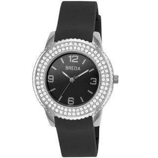 Breda Women's 'Robin' Black Silicone Band Watch