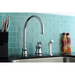 Chrome High Spout Kitchen Faucet with Side Sprayer