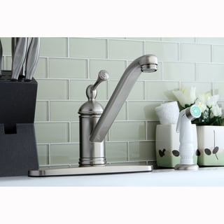 Satin Nickel Kitchen Faucet with Side Sprayer