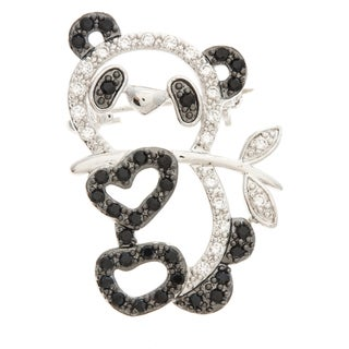 Kate Bissett Two-tone Onyx and CZ Heart and Panda Bear Brooch