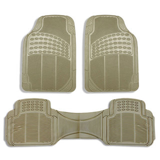 FH Group Beige Vinyl Full Set 3-Piece Front and Rear Floor Mats