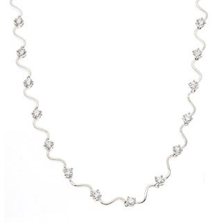 Kate Bissett Silvertone Cubic Zirconia Bridal-style Necklace