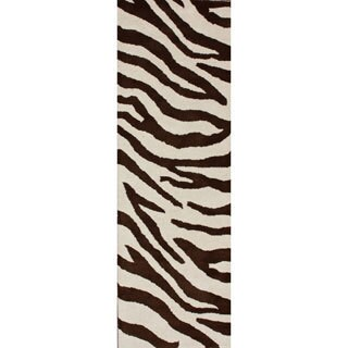 nuLOOM Handmade Modern Zebra Brown/ Beige Wool Runner (2'6 x 10')