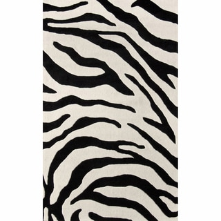 nuLOOM Handmade Modern Zebra Black/ Ivory Wool Rug (8'6 x 11'6)