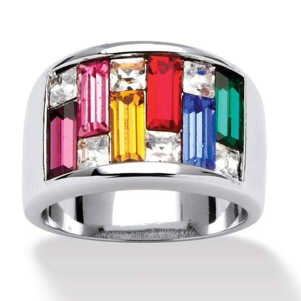 Princess-Cut and Baguette Cut Multicolor Crystal Silvertone Channel Ring Color Fun 11190936
