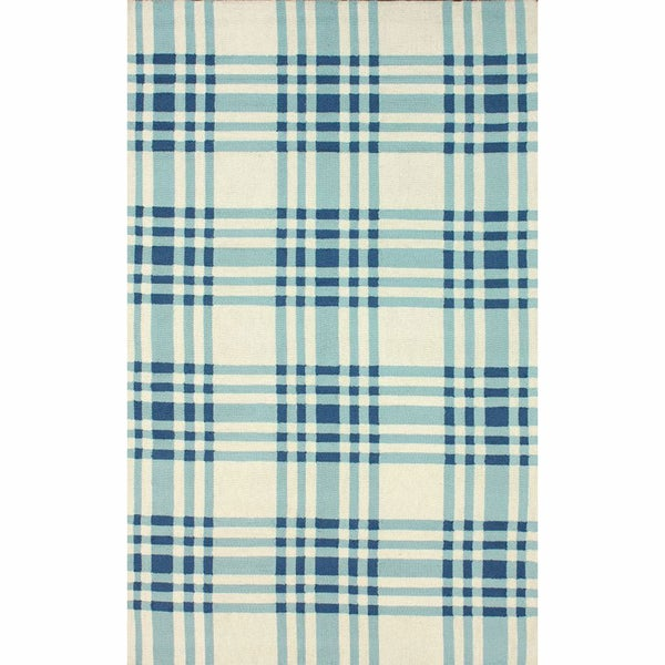 nuLOOM Handmade Plaid Blue Wool Rug (5' x 8')