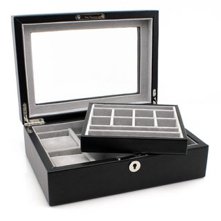Heiden Executive Black Leather Valet Box