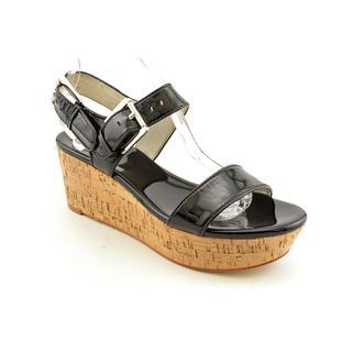 Michael Kors Women's Black 'Kelsie Mid Wedge' Patent Leather Dress Shoes
