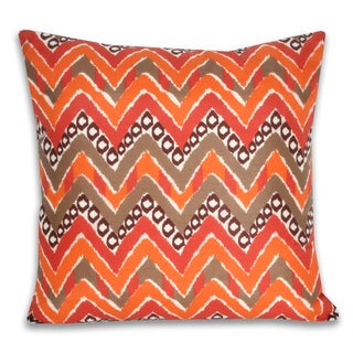 Janet Retro Orange Printed Reversible 20-inch Decorative Pillow