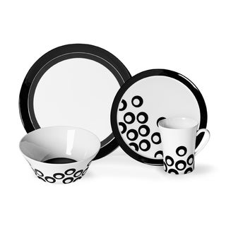 Mikasa 'Circle Chic' 16-piece Black Dinnerware Set