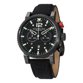 Stuhrling Original Men's Concorso GTP Quartz Black Canvas Strap Watch
