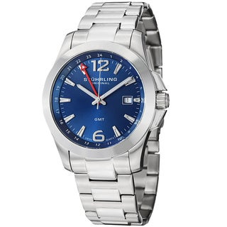 Stuhrling Original Men's Esprit GMT Quartz Blue Stainless Steel Bracelet Watch