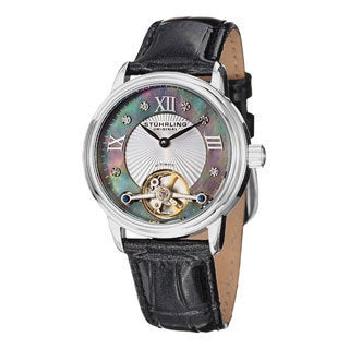 Stuhrling Original Women's Cassiopeia Automatic Open Heart Black Leather Strap Watch