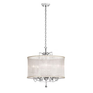 Glamorous 5-light Cream Silk Drum Shade Crystal Chandelier