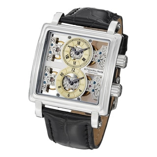 Stuhrling Original Men's Double Bridge Mechanical Skeleton Leather Strap Watch