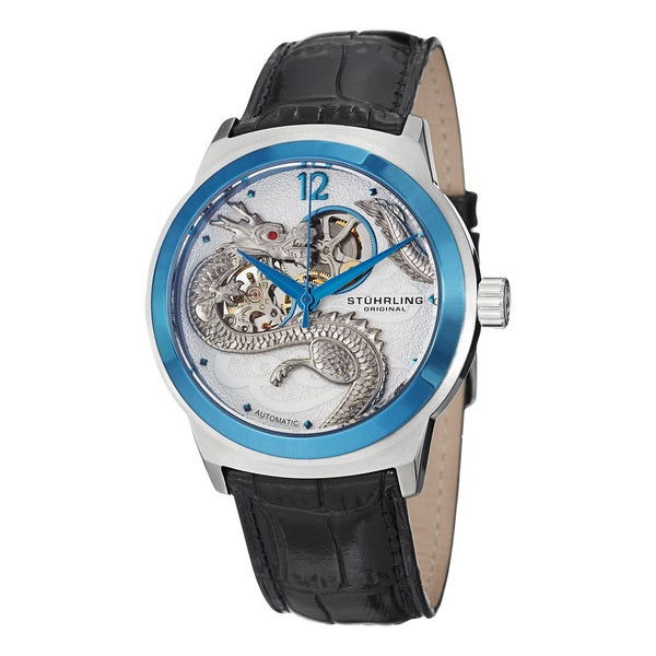 Stuhrling Original Men's Draco Blue-Bezel Automatic Leather-Strap Watch