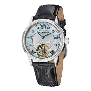 Stuhrling Original Women's Cassiopeia Automatic Open Heart Leather Strap Watch