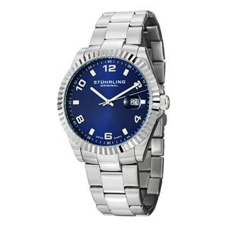 Stuhrling Original Men's Regency Quartz Blue-Dial Stainless Steel Bracelet Watch