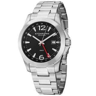 Stuhrling Original Men's Esprit GMT Quartz Black Stainless-Steel Bracelet Watch